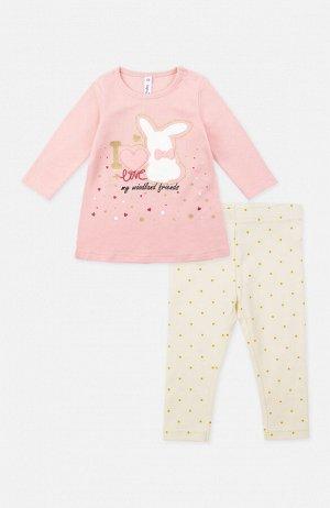 Комплект трикотажный для девочек: фуфайка (футболка с длинным рукавом), брюки (легинсы)