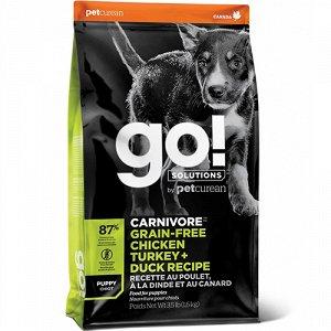 GO! Carnivore д/щен беззерн. 4 мяса Индейка/Курица/Лосось/Утка 5,45кг (1/3)