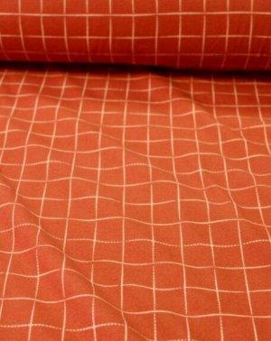 Теплый хлопок Клетка на красно-терракотовом, 1.48 м, хлопок-100%