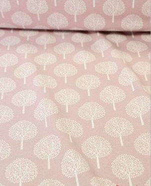 Теплый хлопок Белые деревья на пыльной розе, ш.1,48 м, хлопок-100%