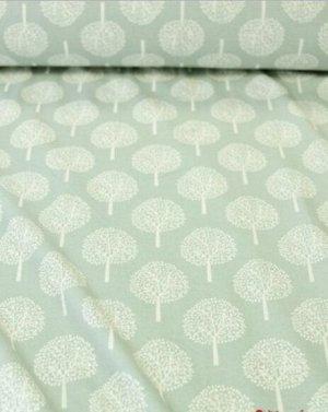 Теплый хлопок Белые деревья на винтажной мяте, ш.1,5 м, хлопок-100%