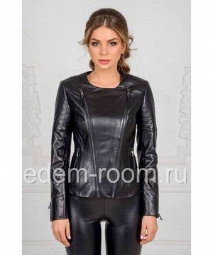 Кожаная куртка с круглым воротникомАртикул: LN-311-CH