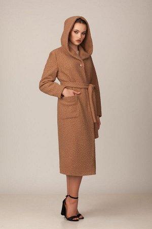 Пальто Пальто Rosheli 712 купучино  Состав ткани: ПЭ-30%; Шерсть-20%; ПАН-50%;  Рост: 164 см.  Пальто с капюшоном из мягкой пальтовой ткани на подкладке. Современный силуэт, нежность ткани цвета кофе
