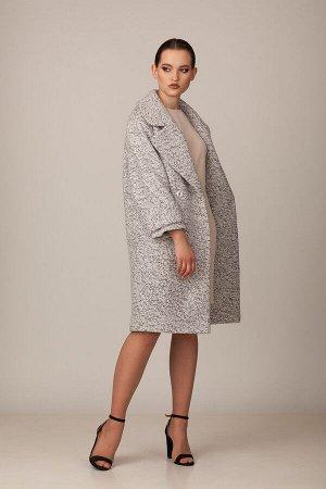 Пальто Пальто Rosheli 727 светло-серый  Состав ткани: ПЭ-30%; Шерсть-20%; ПАН-50%;  Рост: 164 см.  Двубортное пальто из плотной меланжированной пальтовой ткани на подкладке. Объемное пальто с крупным