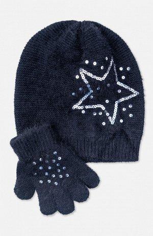 Комплект трикотажный для девочек: шапка, перчатки