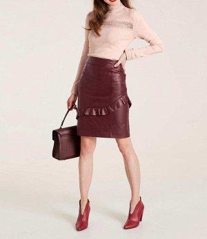 Кожаная юбка, бордовая
