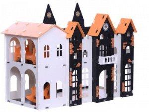 """Домик для кукол """"Замок Джульетты"""" бело-чёрный (с мебелью) KRASATOYS 000260"""