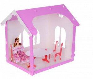 """Домик для кукол """"Летний дом Вероника"""" бело-сиреневый (с мебелью) 000259"""