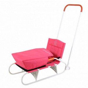 Санки складные с задним толкателем на колесах, с карманом СДС 09-01 (красный/серый)