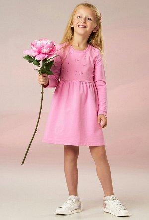 Платье Платье Беларусь; 92% хлопок 8% лайкра; розовый / синий; Платье для девочки с длинным рукавом из хлопкового трикотажа. По переду двойная кокетка с фатином с бусинами. Футер 2-х нитка