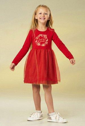 Платье Беларусь; 92% хлопок 8% лайкра; красный; Платье для девочки с длинным рукавом из хлопкового трикотажа, с юбкой из фатина. По переду украшено принтом. Футер 2-х нитка