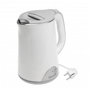 Чайник электрический Galaxy GL 0301, пластик, колба металл , 1.5 л, 2000 Вт, белый