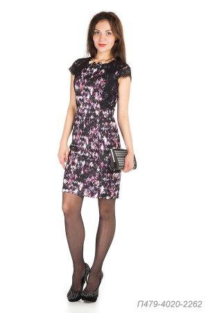 Платье 479 креп Барби черно-сиреневый Сияние