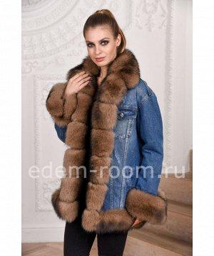 Удлинённая джинсовая куртка с мехом песцаАртикул: DJP-116-TT