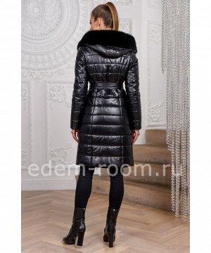 Кожаное пуховое пальто с капюшономАртикул: TG-1233-100-CH-N