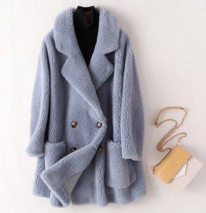 Пальто Пальто, оформленное воротником с лацканами, овечья шерсть/полиэстер. Размер (обхват груди, длина рукава, длина изделия, см): S (116,56,81), M (120,57,82), L (124,58,83)