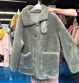 Пальто Пальто, оформленное длинными рукавами и карманами спереди, овечья шерсть/полиэстер. Размер (обхват груди 120см, длина рукава 57см, длина изделия 70см): free size