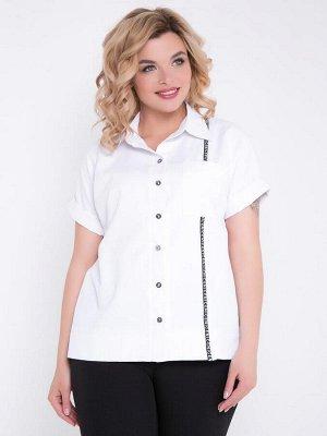 Рубашка Интересная рубашка прямого силуэта из вискозной ткани. Модель с просторными короткими рукавами на манжете. - горловина с отложнам воротником на стойке - по всей длине переда застежка на пугови