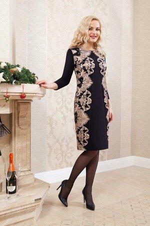 Платье Платье Azzara 538 черный+цветочная вышивка  Состав ткани: Вискоза-35%; ПЭ-61%; Спандекс-4%;  Рост: 164 см.  Платье женское нарядное, полуприлегающего силуэта, расширенное книзу, вырез горловин