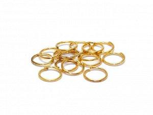 Кольца золотистые. 6 x 0,7 мм. Цвет - золото. Материал - сплав металлов. Цена за 20 шт