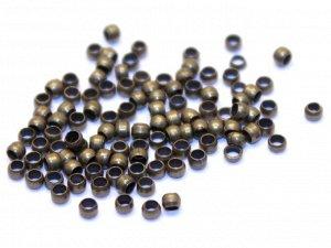 Кримпы зажимные Шарики 1,5 мм бронзовые. 50 шт.