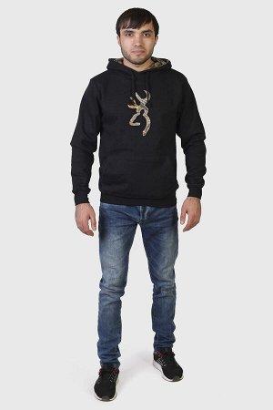 Черная мужская толстовка Browning с камуфляжным капюшоном. Твой любимый цвет + крутая брендовая аппликация на груди №800 ОСТАТКИ СЛАДКИ!!!!