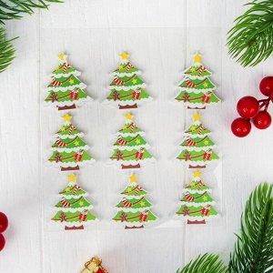 """Новогодний декор-наклейки """"Зимнее дерево"""", набор 9 шт."""