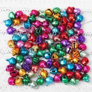 Бубенчики, набор 100 шт., размер 1 шт: 0,6 см, цвета МИКС