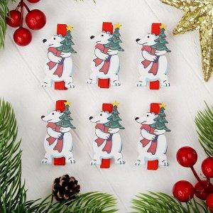 """Прищепки новогодние """"Белый мишка"""", набор 6 шт."""