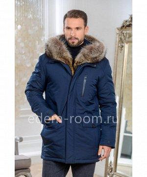 Синяя тканевая мужская куртка для зимыАртикул: C-18D17-2-80-SN-EN