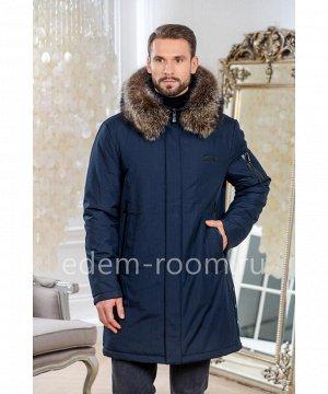 Синяя зимняя куртка с мехом на капюшонеАртикул: R-899-2-85-SN-EN