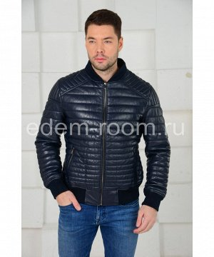 Синяя демисезонная кожаная курткаАртикул: VR-2052-S