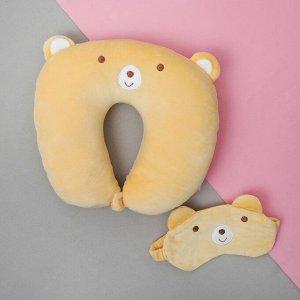 Подголовник «Мишка», с маской для сна
