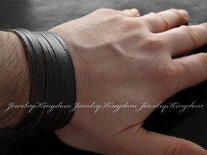 "Арт # 6964 Браслет ""JEWELRY KINGDOM""  Натуральная кожа Длина : 18.5-20.5 см Ширина : 3,5см  !"