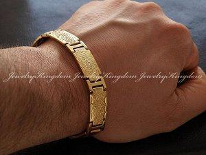 """Арт # 2136 Браслет""""JEWELRY KINGDOM"""" Металлический с золотым напылением 18К по технологииIPG Длина : 21.5 см. Ширина :12 мм Вес:31 г. Антиаллергичные мат"""
