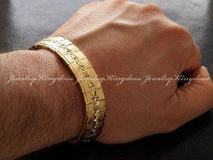 """Арт # 2135 Браслет""""JEWELRY KINGDOM"""" Металлический с золотым напылением 18К по технологииIPG Длина : 21.5 см. Ширина :12 мм Вес:31 г. Антиаллергичные мат"""