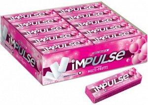 «Impulse», жевательная резинка со вкусом Multi-Frutti, без сахара, 14 г