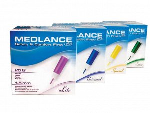 Ланцет Ланцет Medlance plus Lite, игла 25G, глубина прокола 1,5 мм, фиолетовый, 20 шт/упаковка, Польша