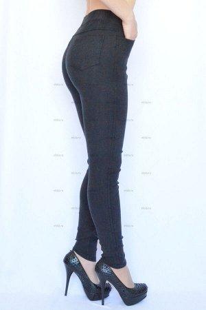 Джинсы-леггинсы «скинни» НОРМА+БАТАЛЫ утепленные (изнанка-искусственный мех или флис) цвет: серо-черный