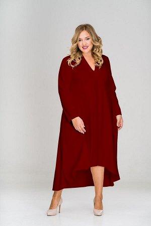 Платье креп с асимметричным низом и воротником стойка, бордовое *