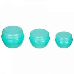 Набор косметических баночек, 3шт(10г,20г,30г), пластик, 2-3 цвета