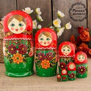 Матрёшка «Георгины», красный платок, 7 кукольная, 17 см, ручная работа