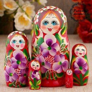 Матрёшка «Фиалки», красное платье, 5 кукольная, 12 см