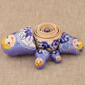 Матрёшка «Поднос с цветами», фиолетовое платье, 5 кукольная, 10 см