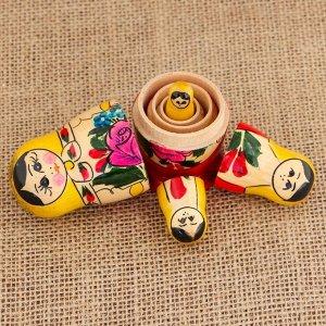 Матрёшка «Семёновская», желтый платок, 4 кукольная, 9 см