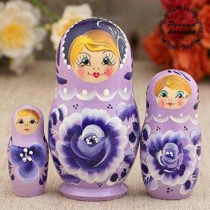Матрёшка «Роза», сиреневое платье, 3 кукольная, 9 см