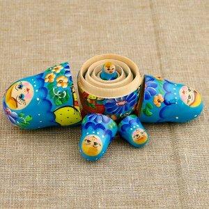 Матрёшка «Корзинка», голубой платок, 5 кукольная, 10,5 см