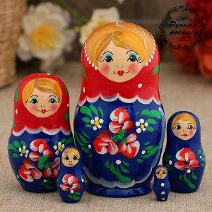 Матрёшка «Красные цветочки», красный платок, 5 кукольная, 10 см