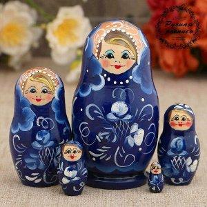 Матрёшка «Гжель», тёмно-синее платье, 5 кукольная, 10 см