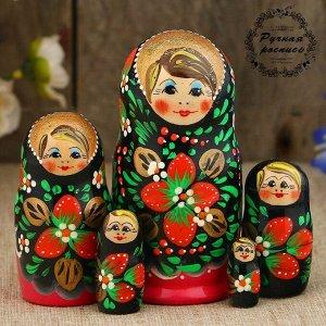 Матрёшка «Хохлома», чёрный платок, красное платье, 5 кукольная, 10 см